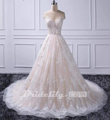 Chicloth Gorgeous Sheer Neck Cap Sleeves Lace Appliques A Line Wedding Dress_4