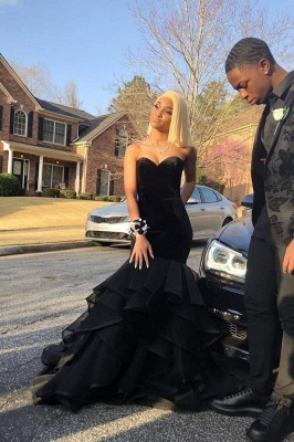 Chicloth Elegant Black Sleeveless Sweetheart Mermaid Prom Dresses_1