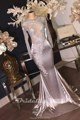 Chicloth Luxury Sliver Long Sleeves Lace Appliques Mermaid Prom Dresses_2