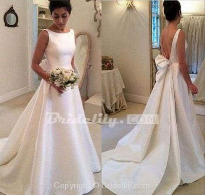 Chicloth Classic Satin A Line Long Backless Wedding Dress_3