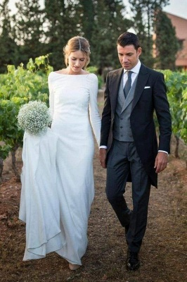 Chicloth Modest Long Sleeve Sheath Country Wedding Dress_1