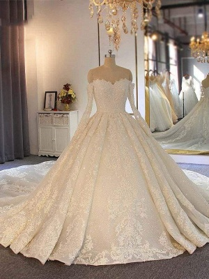 Chicloth Sweetheart long sleeves Full Lace Beading Wedding Dresses_1