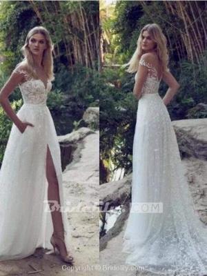 Chicloth Split Lace Applique Sweep Train A Line Wedding Dresses_2