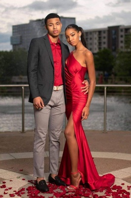 Chicloth Red Asymmetrical Floor Length Prom Dresses