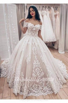 Chicloth Ball Gown Off the Shoulder with Lace Appliques Gorgeous Wedding Dress_3