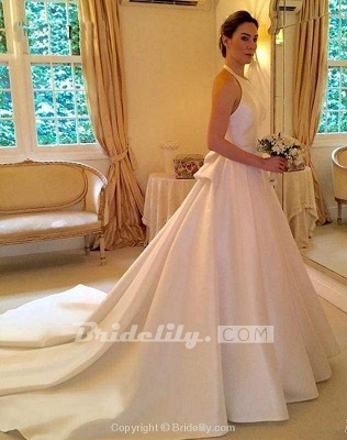 Chicloth A Line Halter Satin Simple Backless Sleeveless Wedding Dress with Bow_5