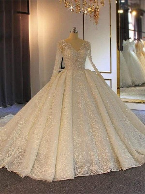 Chicloth Sparkling V-Neck Long Sleeves Lace -Up Ball Gown Wedding Dresses_1