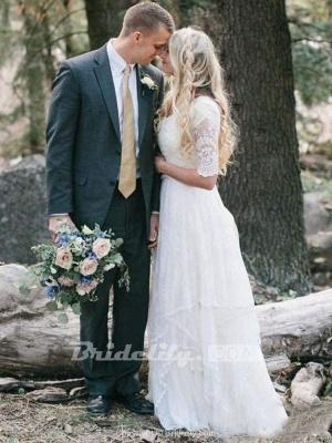 Chicloth Elegant Half Sleeves V-neck Lace Boho Wedding Dress_3