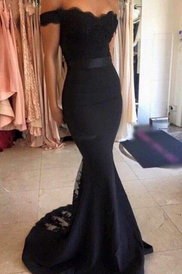 Chicloth Cheap Mermaid Long Dress lace Black Off the Shoulder with Sash Prom Gowns_1