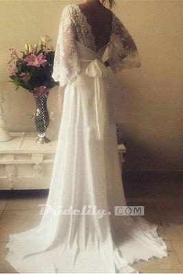Chicloth Romantic Boho V Neck Lace Appliques Chiffon Long Beach Wedding Dress_3