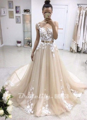 Chicloth A-line Bateau Lace Appliqued Gold Sash Short Sleeves Wedding Dress_2