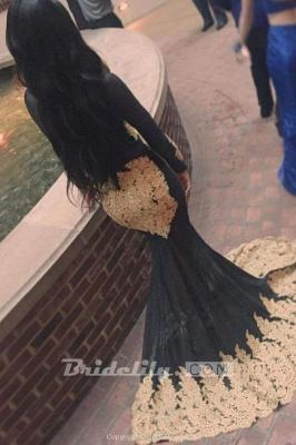 Chicloth Sheer High Neck Appliques Long Sleeve Mermaid Prom Dresses_2