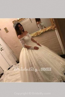 Chicloth Luxury Off the Shoulder Long Sleeve Ball Gown Chapel Train Appliques Wedding Dress_2