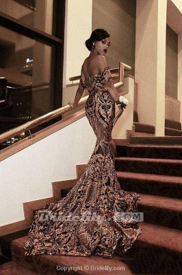 Chicloth Glorious Strapless Gold Sequin Long Mermaid Prom Dresses_2