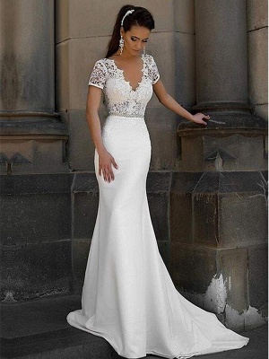 Chicloth Gorgeous V-neck Short Sleeves Lace Mermaid Wedding Dresses_1