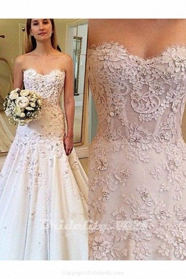 Chicloth Elegant Sweetheart with Lace Appliques Strapless Wedding Dress_2