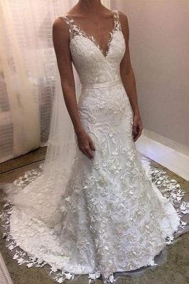 Chicloth Ivory V Neck Sheath Sleeveless Backless Charming Lace Wedding Dress_1