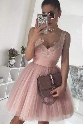 Chicloth A-Line V-Neck Blush Pink Sleeveless Homecoming Appliqued Short Tulle Prom Dress_1