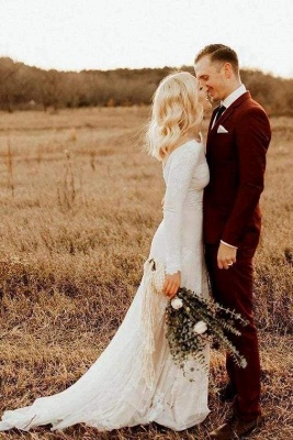 Chicloth Ivory Long Sleeve Rustic Backless Sheath Beach Wedding Dress_1