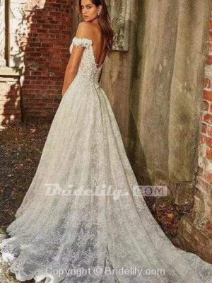 Chicloth off-the-Shoulder Full Lace Wedding Dresses A-Line Lace Appliques with Court Train_2
