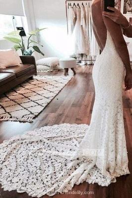 Chicloth Sexy Mermaid Spaghetti Straps Backless Beach Lace Wedding Dress_2