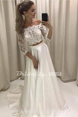 Chicloth Two Piece 3\/4 Sleeve Off the Shoulder Lace Satin Beach Wedding Dress_2