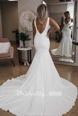 Chicloth Simple V Neck Mermaid with Long Train Sexy Backless Beach Wedding Dress_4