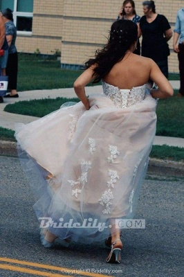 Chicloth Floor Length Sweetheart Tulle Wedding with Lace Appliques Long Dress_2