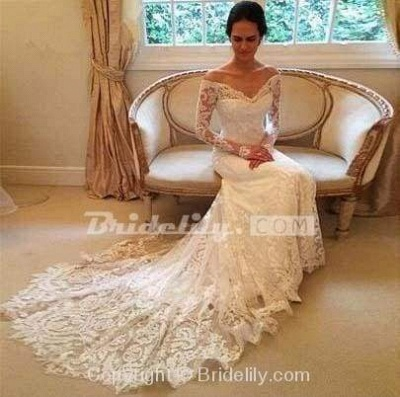 Chicloth White Long Sleeves Off the Shoulder Mermaid Lace Beach Sexy Wedding Dress_3