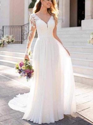 Chicloth Modest V-Neck Long Sleeves A-Line Ruffles Wedding Dresses_1