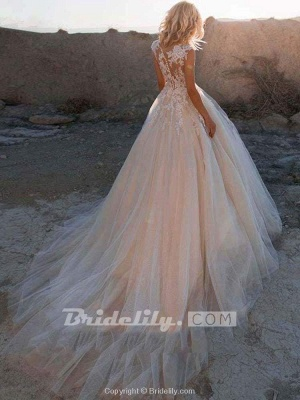 Chicloth Lace Appliques Tulle Wedding Dresses_2