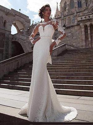 Chicloth Glamorous Long Sleeves Lace Bowknot Mermaid Wedding Dresses