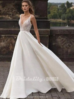 Chicloth Gorgeous V-Neck Lace Ruffles Wedding Dresses_2
