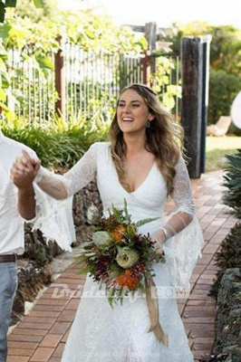 Chicloth Boho V Neck Beach with Long Sleeves Unique Lace Wedding Dress_3