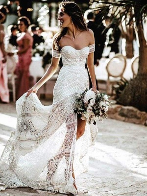 Chicloth Amazing Sweetheart Neck Lace Beach Boho Wedding Dress_4