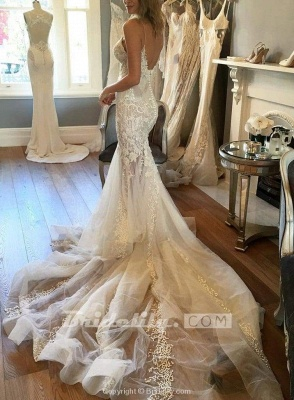 Chicloth Spaghetti Straps Mermaid Appliqued V-neck Tulle Wedding Dress_2