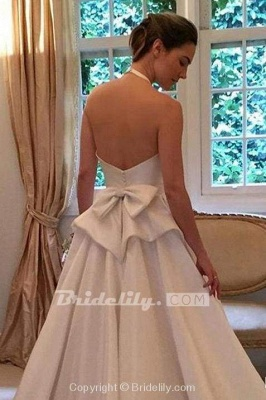 Chicloth A Line Halter Satin Simple Backless Sleeveless Wedding Dress with Bow_2