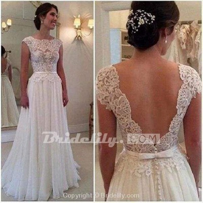 Chicloth A-line Lace Appliqued Cap Sleeves Ivory Chiffon Long Beach Wedding Dress_3