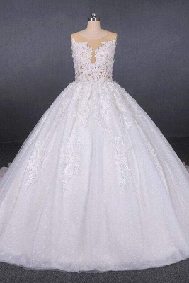 Chicloth Ball Gown Sheer Neck Sleeveless White Lace Appliqued Wedding Dress_1