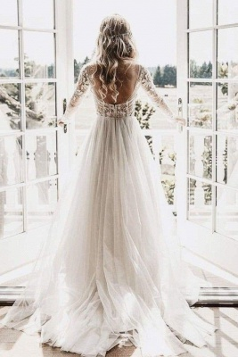 Chicloth Chic A-line Long Sleeve Lace Backless Country Wedding Dress_1