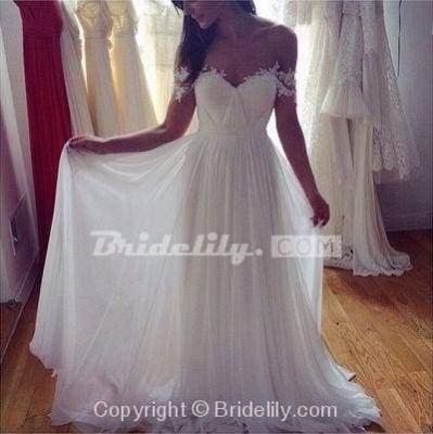 Chicloth Simple A-Line Appliques Ivory Chiffon Beach Wedding Dress_3