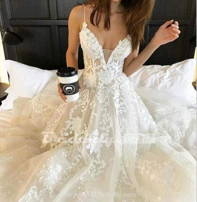 Chicloth Stunning Appliques Lace Spaghetti Straps Wedding Dress_6