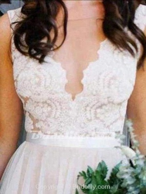 Chicloth V Neck A-Line Long Tulle Wedding Dresses With Lace Top_2