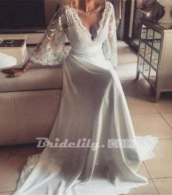 Chicloth Romantic Boho V Neck Lace Appliques Chiffon Long Beach Wedding Dress_4