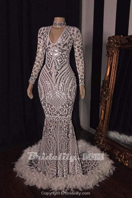 Chicloth Amazing Sequins V-neck Long Sleeve Mermaid Prom Dresses_2