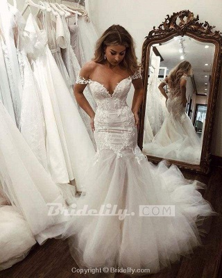 Chicloth Off the Shoulder Mermaid Lace Long Tulle Wedding Dress_6