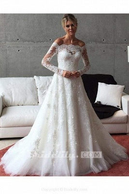 Chicloth A Line Off the Shoulder Long Sleeves Sweep Train Wedding Dress_2