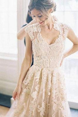 Chicloth Elegant V-neck Sleeveless Cap Sleeves Floor-Length Wedding Dress_1