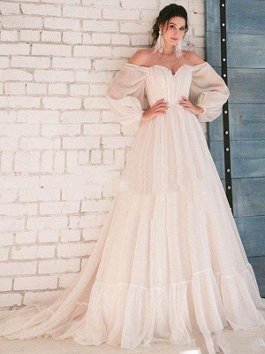 Chicloth Glamorous Off-the-Shoulder A-Line Ruffles Wedding Dresses_1