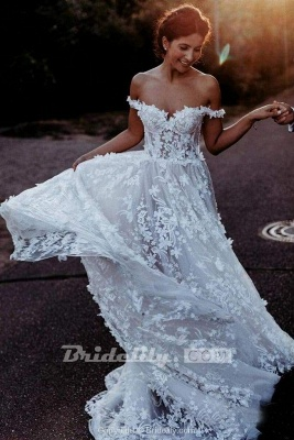 Chicloth White Off the Shoulder Lace Beach Rustic Boho Wedding Dress_2
